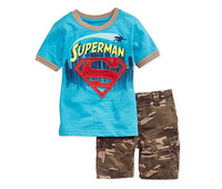 2014 new children baby boys summer clothing sets 2pcs set blue casual superman t shirt + camouflage short pants BB32