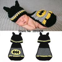 Hot Sale Infant Baby Crochet Photography Props Handmade Batman Nursling Hat And Cover Set Toddler Baby Costume Set 1setMZS-14022