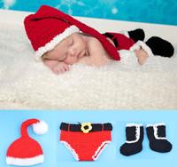 Free Shipping Santa Claus Design Unisex Baby Crochet Caps+Shorts Set Infant Cotton Clothes Handmade Photo Props 1set MZS-14032