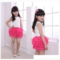 Summer Skirt 2014 Princess Girls Baby Ballerina Tutu Skirts Mini Fashion Skirt Children's Fluffy Kids Silk Casual Skirt L30-6