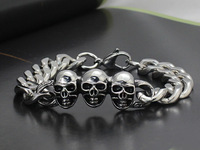 Punk style 3 skull bracelets stainless steel jewelry for men and boys