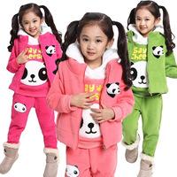 Retail 4-13Y lovely girl clothing set New 2014 Autumn/Winter fashion corduroy 3pcs teenager's set cute kids sets(vest+coat+pant)