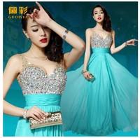 Free shipping 2014 new fashion silk chiffon long design floor length v-neck strap vestido de festa longo women evening dress