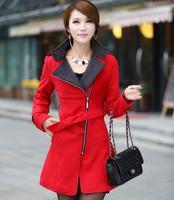 2014 Graceful British Style Women Winter Long Wool Thick Outerwear Trench Coats / Fashion Abrigo Casacos Femininos