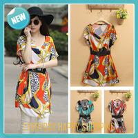 Newest summer women dress batwing loose print black belt cotton one-piece dress o-neck casual dress for women