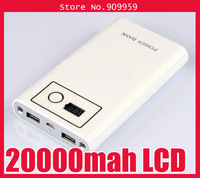 Double light digital display screen 20000mah mobile power for phone,psp,mp3 with retailbox and 4 connectors