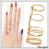 New Designer Multilayer Gold Finger Ring set For Girls Unique Rock Party rings Hot Sale Wholesale R0124A