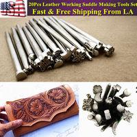 20pcs Leather Working Saddle Making Tools Leather Craft Stamps Kit Set US STOCK Free shipping