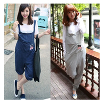 Free Shipping Korean Fashion Spring Summer cute pregnant sevenths Overalls Maternity Pants Bib