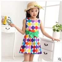 Retail Princess 2014 Summer 1pcs Baby Girls Dancing Clothing Children Tutu Kids Dress Cotton Casual Dress Free Shipping L30-7