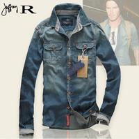New Arrivel 2014 100% Cotton Men Jeans Shirt Men Casual Shirt Slim Fit Long-Sleeves Denim Clothing Free Shipping AY850790