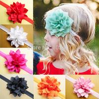 10pcs/lot mix colors chiffon flower baby  soft headband children accessories