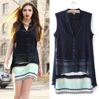 New arrival European Style women dress Sleeveless V neck  Print Summer Evening Casual Chiffon Shirt Dress Sundress  AY655120