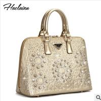 Hot Sale 2014 New Women Handbags Big Package Shell Bag Girls Dinner Diamond Leather Handbag