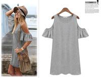 New 2015 Summer European style Plus Size M-XXXL Women Fashion  Butterfly Sleeve Cotton Cute Strapless Dress t shirt