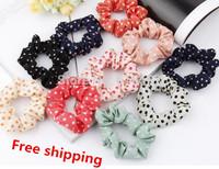 Wholesale Beautiful Sweet Candy Color Cloth Art Hair Accessories Fashion Women /Polka dot Rope Elastic Headdress Free shipping