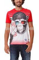 Hip Hop Style Brand New Fashion Men Slim 3d T Shirt 2014 Summer Monkey Printed Men Fitness Famous Desigual Shirts