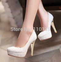 Big size 34-43 Glittering Fashion sexy summer women Pumps  Wedding shoes lady Pump spool heels black white gold green QL3676