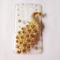For LG G2 Optimus D801 D802 case,Bling Crystal rhinestones Colorful Peacock Cover for lg g2 diamond case PC skin Freeshipping