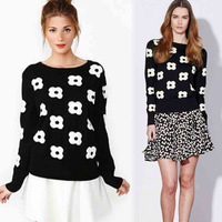 2014 autumn new fashion women sweater European style high quality lady sweater floral patchwork knitted pullover 6978