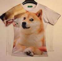 (Alice)2014 summer clothes Fashion women/men galaxy shibe doge dogecoin print short sleeve novely dog 3d t shirt size M/L/XL/XXL