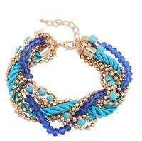 New 2014 Fancy Brand Bracelets Women Jewelry Gift Bohemia style hand-woven Rhinestone Chain Bracelets & Bangles! # 2523