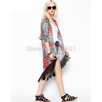2014 new fashion women Floral Pattern tassel Cape vintage loose Outwear casual elegant Cape Lady kimono brand coats#E543