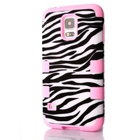 NEW 3 in 1 Black Zebra Pattern Hybrid Case Cover Shock Proof Silicone PC Skin For Samsung Galaxy S5 SV I9600 High Quality