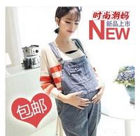 Free Shipping Korean fashion casual and comfortable maternity denim overalls pregnant big size pregnant Bib