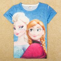 Nova brand frozen children t shirts kids summer clothing frozen children 2014 kids t-shirt Elsa  HK5198#