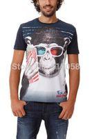 Brand New Fashion Men Slim 3d T Shirt 2014 Summer Monkey Printed Men Plus Size Desigual Shirts