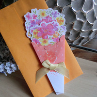 8pcs/set Romantic Flower Bouquets Greeting Card With Envelope For Teacher Mother Birthday Day Business Design Gift Card(AKL-074)