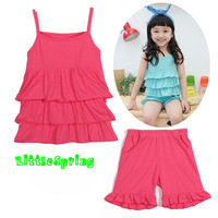 2014 Children's clothing sets, solid summer sleeveless tops camisole +shorts clothing sets, kids set LZ-T0291