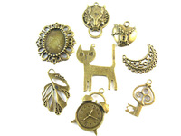 Random charm Mix Styles key Gold plated  antique Plated Zinc Alloy DIY Jewelry Accessories Charms Pendant