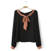 Classic All-match Bow Chiffon Shirt Small Fresh Style Women's Clothing Shirts Women's Long-sleeve O-Neck Blouses Shirt TS1003