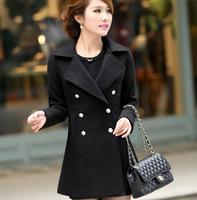 2014 New Design British Style Autumn Winter Women Warm Wool Outerwear Coats Casual Dress / Fashion Female Plus Size Overcoat