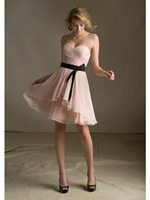 2014 New Arrival Sweetheart Pleats Organza Black Belt Bridesmaid Dresses Junior Bridesmaid Dresses 2014