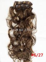 "24""/60cm 120g #6/27  7pcs/set Japan High Temperature Fiber Clip in Hair Extensions Long Wavy Extension Free Shipping"