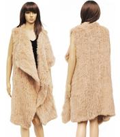 New DHL/EMS Free Shipping Women Real Genuine Knitted Rabbit Fur  X Long Vest Natural Fur Super Long Winter Vest  FP238