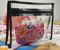 fedex 300pcs wholesale women pvc Waterproof black makeup bag Cosmetic Cases