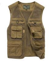 Ma3 jia3 men's wear more thin fishing mesh pocket bag travel photography vest. Free shipping