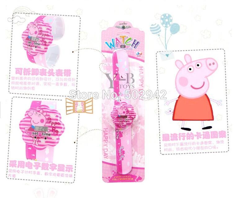 Hot Cartoon Pepe pig magic ruler 40pcs Gift child magic fun ring pops pat circle magic watches Wrist watch(China (Mainland))