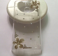 For nokia lumia 520 case,Bling Crystal rhinestones Colorful Flower Cover for N520 diamond case PC skin  Free shipping