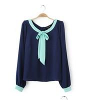 New 2014 Chiffon Blouse Shirt Fashion Blouse Women Dress Women's O-neck Long-sleeve Chiffon Shirt Girl's Casual Dress TS1003