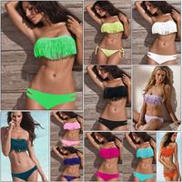 Vs Bikini 2014 Cheap Cute Bathing Suits Hot Sexy Fringe Bikini Top Candy Color Strapless Fringed Women Swimwear Neon Swimsuit