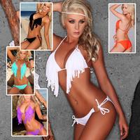 New 2014 VS Hot Sexy Fringe Bikini Top Candy Color Halter Fringed Swimwear String Swimsuit Women Neon Bathing Suits