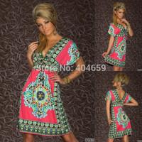 2014 New arrival Summer Fashion Retro plug size SunDresses Vintage Paisley Print Hippie Bohemian Knee-Length Beach Dress