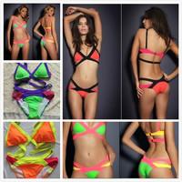 VS 2014 New Arrival Free Shipping Bandage Swimsuit Sexy Hot Bikini Neon Patchwork  Brazilian Padded Strappy Bandeau Swimwear