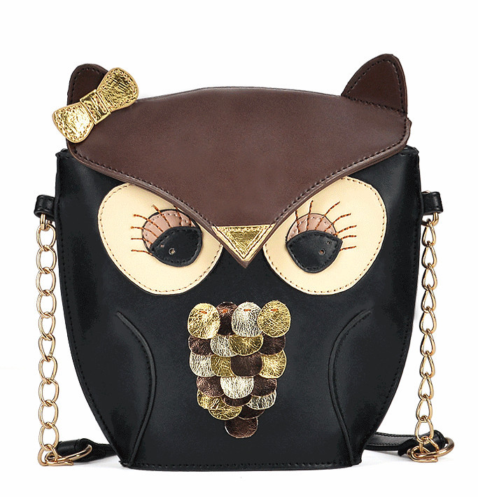 New Women's Splicing Color Shoulder Cross Body Bag Owl bagPattern Holder Cover School Tote Small Bag Handbag black + brown(China (Mainland))