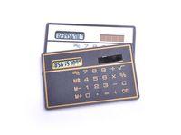 100pcs/lot Mini Slim Credit Card Solar Power Pocket Calculator For Student 8 Digits Portable Calculator 2 colors Gray/Black 0006